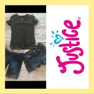 Justice girls 12 shorts top outfit bundle. R06